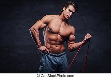 dall'aspetto, shirtless, gomma, mentre, macchina fotografica, attraente, esercizi, uomo