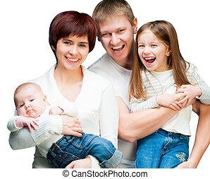dall'aspetto, sorridente, macchina fotografica, carino, famiglia
