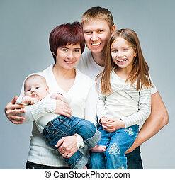 dall'aspetto, sorridente, macchina fotografica, famiglia, bello