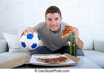 dall'aspetto, stress, mangiare, osservare, football, televisione, ansioso, birra, gioco, bere, uomo, eccitato, pizza