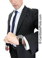 dall'aspetto, suo, orologio, uomo affari