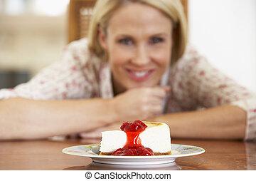 dall'aspetto, torta formaggio, donna, metà adulto