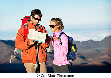 dall'aspetto, traccia, segno, scia, escursionisti, mappa