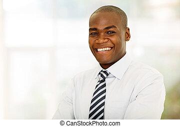 dall'aspetto, uomo affari, americano, macchina fotografica, africano