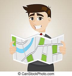 dall'aspetto, uomo affari, cartone animato, mappa