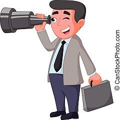 dall'aspetto, uomo affari, futuro, opportunità, cartone animato