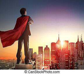 dall'aspetto, uomo affari, superhero, città