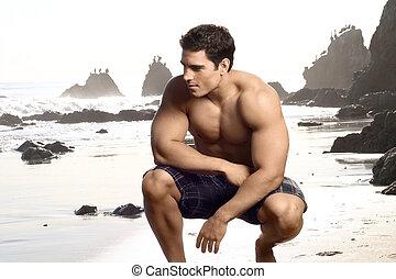 dall'aspetto, uomo, buono, adattare, shirtless