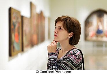 dall'aspetto, visitatore, galleria arte, immagini