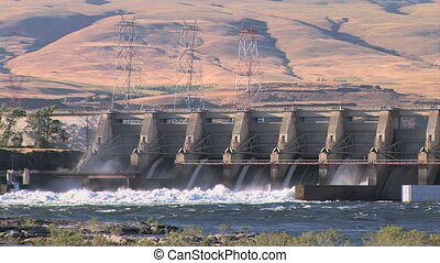 Dalles Dam - Columbia river rushing through the Dalles...