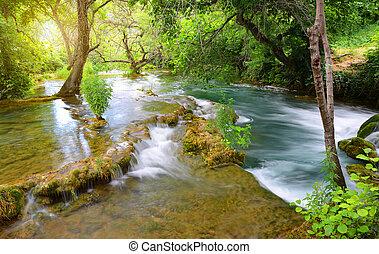 dalmácia, europe., nemzeti park, krka, folyó, horvátország