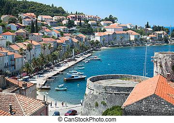 dalmatia, europe., isla, korcula., región, croacia, aldea