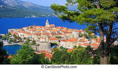 dalmatia, pueblo viejo, costa, korcula, croacia