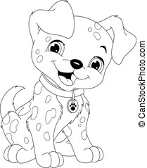 Dalmatian Coloring Page - Cute puppy Dalmatian on a white...