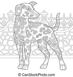 Coloring book page. Anti stress colouring picture with dalmatian dog.
