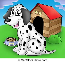 Dalmatian dog in front of kennel