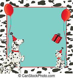 Dalmatian dog invitation and puppy dog with party hats, gift and red balloons on a spotted dalmation black and white background.