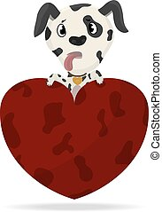 Dalmatian puppy with heart