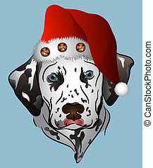 Dalmatian puppy wearing a santa hat
