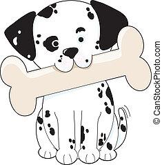 Cute Dalmatian puppy holding a big bone in its mouth