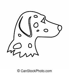 Dalmatians dog icon, outline style