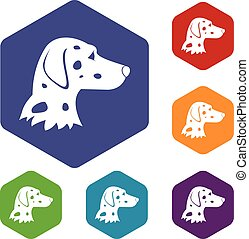 Dalmatians dog icons set