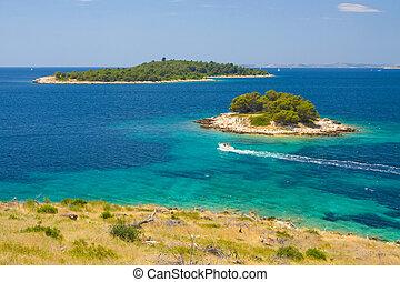 dalmatien, panoramisch, kroatisch, kueste, ansichten