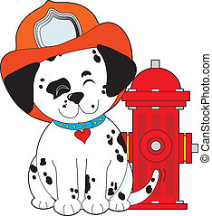 Dalmation Fire Dog - A smiling Dalmatian Pup, sitting close...