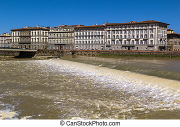 dam across the Arno River, Florence, Italy