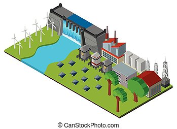 Dam and power station in 3D design