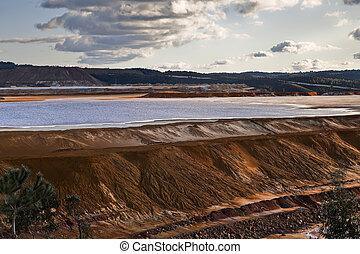 Dam copper mine waste in Riotinto, Spain