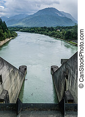 Dam - Hydro electric dam power plant on Drau river in...