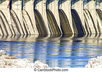Dam hydroelectric power industry. Horizontal shot, topic - ...