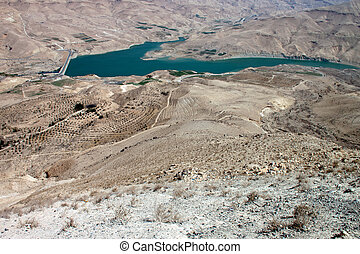Dam in the desert of Jordan to the south-west of Amman
