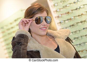 dam, krävande, flygare, solglasögon