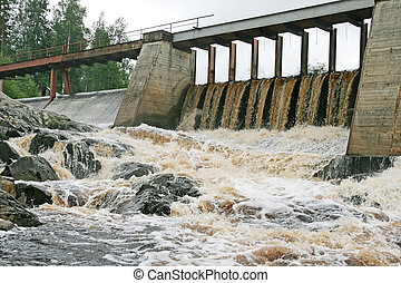 Dam of a hydroelectric power station on a karelian river, ...