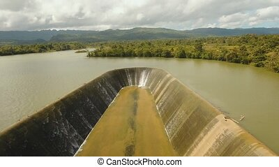 dam on the lake - aerial footage Dam on lake in countryside....
