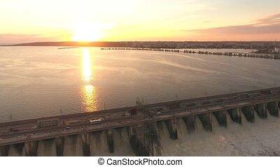 dam on the river Volga aerial shooting