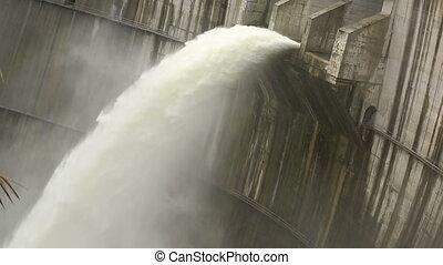 dam, ontlading, overstroom water