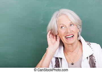 dam, problem, äldre, åhörande