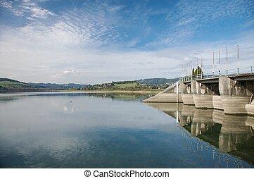 dam reservoir in asturias - reservoir next to gijon city in ...