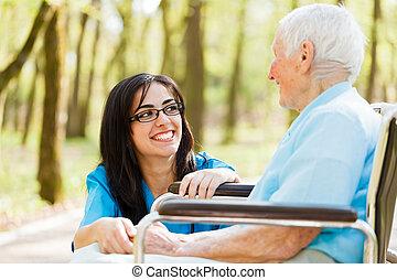 dam, skratta, äldre