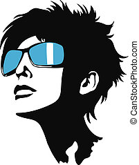 dam, solglasögon, ung