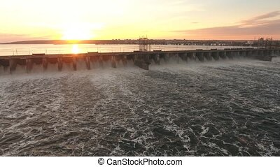 dam throws off the water aerial shooting