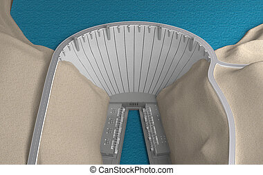 Dam view from above. 3d rendering
