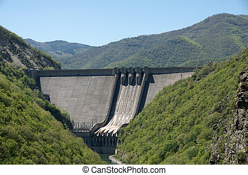 Hydroelectric equipment - concrete dam wall