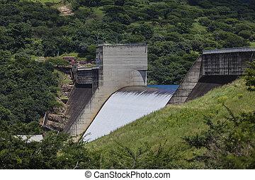 Dam Wall Overflow Water Rushing