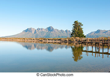 Dam with jetty with the Helderberg in the background