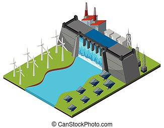Dam with turbines and solar cells