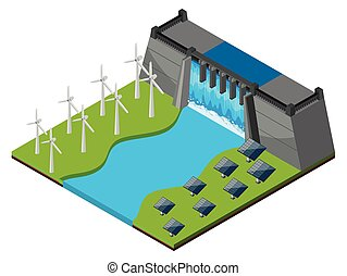 Dam with watergate and wind turbines